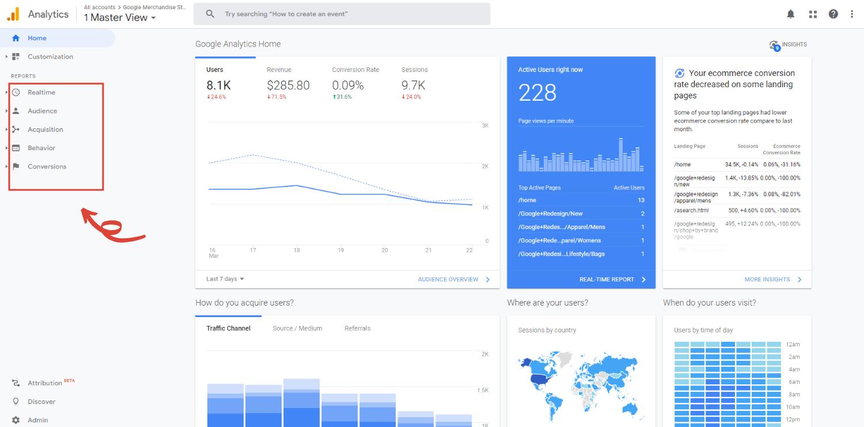 Google Analytics for beginners home tab
