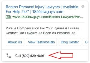 adwords ad extensions call button
