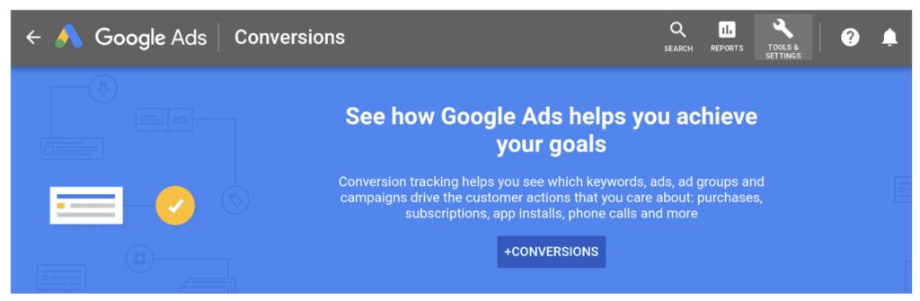 google ads conversion example screenshot