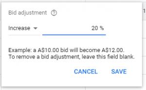 bid adjustments screenshot
