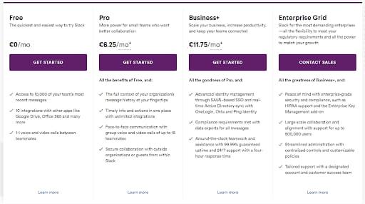 Slacks Pricing Plans